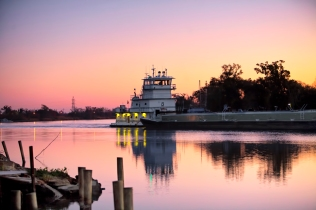 tug boat on the move