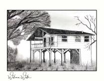 raised house print